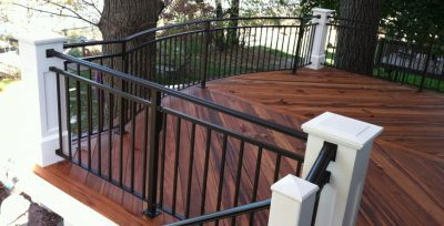 Railcraft aluminium railings in a custom application featuring curves and large newel posts.